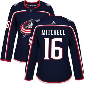 Authentic Adidas Women's John Mitchell Columbus Blue Jackets Home Jersey - Navy